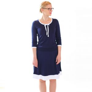 Kleid dunkelblau weiss